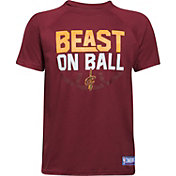 "Under Armour Youth Cleveland Cavaliers ""Beast On Ball"" Burgundy Tech Performance T-Shirt"