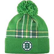 adidas Men's 2018 St. Patrick's Day Boston Bruins Green Pom Knit Beanie