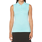 Callaway Women's Sleeveless Core Solid Micro Hex Golf Polo