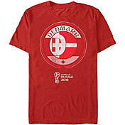 Fifth Sun Men's 2018 FIFA World Cup Denmark Contrast Round Red T-Shirt