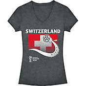 Fifth Sun Women's 2018 FIFA World Cup Switzerland Flag Ball Grey V-Neck T-Shirt