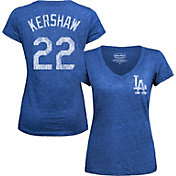 Majestic Threads Women's Los Angeles Dodgers Clayton Kershaw Royal V-Neck T-Shirt