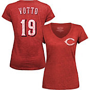 Majestic Threads Women's Cincinnati Reds Joey Votto Red V-Neck T-Shirt