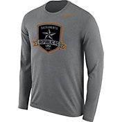 Nike Men's Sacramento Republic FC Logo Legend Heather Grey Performance Long Sleeve Shirt
