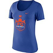 Nike Women's FC Cincinnati Crest Royal Scopp Neck T-Shirt