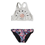 Roxy Girls' Surfing Miami Crop Top Bikini Set
