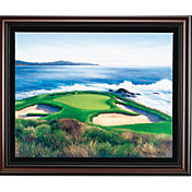 Golf Gifts & Gallery Pebble Beach 7th Hole Canvas Framed Photo
